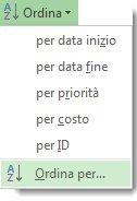 Immagine del menu Ordina nella scheda Visualizza