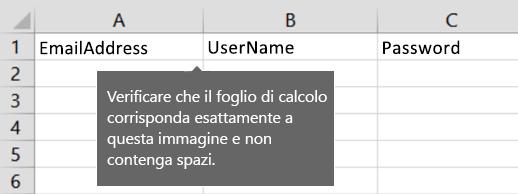 Intestazioni di cella nel file di migrazione di Excel