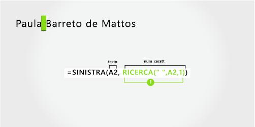 Formula per separare un nome e un cognome in tre parti