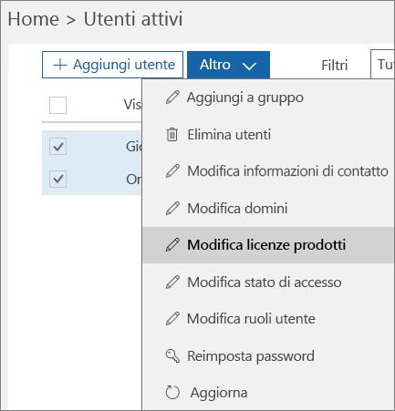 Rimuovere tutte le licenze utente mediante l'interfaccia di amministrazione di Office 365