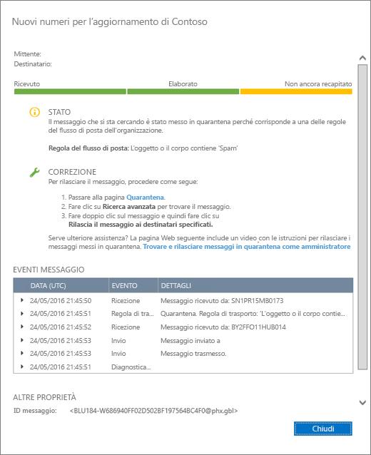 Screenshot della pagina di dettagli di Traccia messaggio con un esempio.