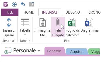 Inserire un allegato in modo da avere una copia dei file in OneNote