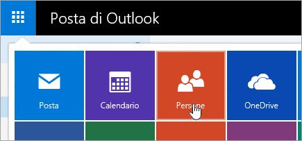 Screenshot del riquadro Persone nell'icona di avvio delle app.