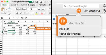 Foglio di lavoro che mostra una cella con un bordo arancione sul lato sinistro, una bolla con le iniziali di una persona e le coordinate della cella evidenziata sulla destra, che indicano che l'utente ne sta modificando il contenuto