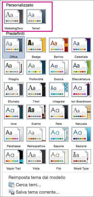 Temi personalizzati e predefiniti visualizzati nel menu Temi