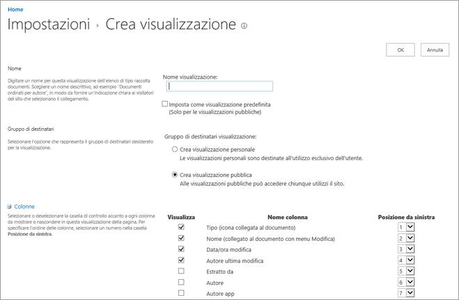 Pagina Impostazioni - Crea visualizzazione