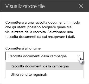 Riquadro delle proprietà Visualizzatore file con l'elenco a discesa Connetti all'origine