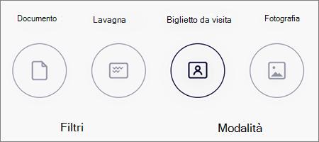 Opzioni di modalità per le scansioni delle immagini in OneDrive per iOS