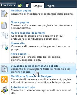 Visualizza tutto il contenuto del sito nel menu Azioni sito
