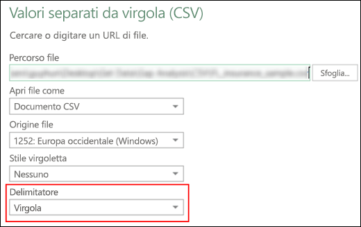 Power Query - Connettore CSV - Possibilità di specificare un delimitatore di colonna nella finestra di dialogo Origine