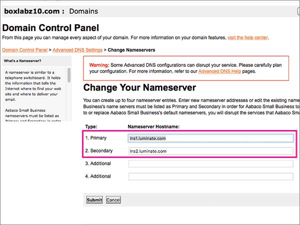 Eliminare i server dei nomi nella pagina Update Name Servers