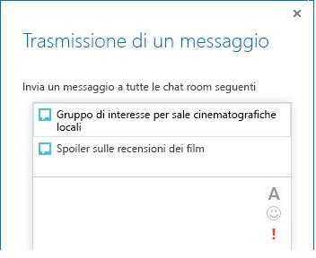Immagine della parte superiore della finestra di dialogo per la trasmissione di un messaggio