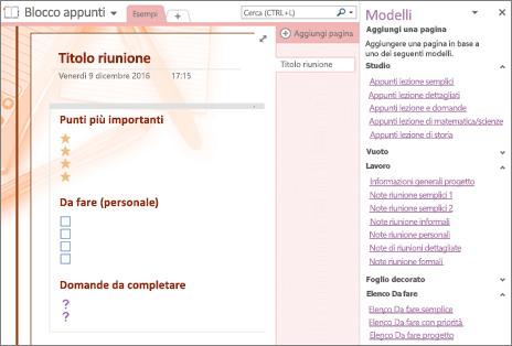 Screenshot della pagina di un blocco appunti creata da un modello di riunione. Il riquadro Modelli è aperto.