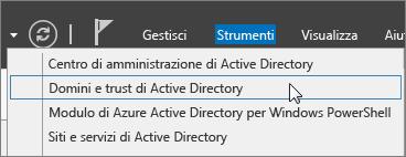 Scegliere Domini e trust di Active Directory.