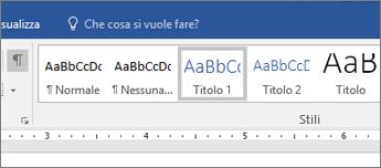 Screenshot delle opzioni per lo stile titolo