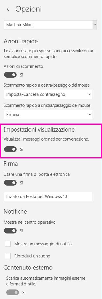 Disattivare la visualizzazione conversazione nell'app Posta per Windows 10
