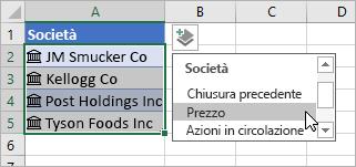 Cursore che fa clic su Aggiungi colonna e seleziona Prezzo dall'elenco dei campi