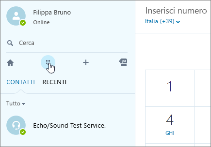 Screenshot che mostra dove effettuare una chiamata telefonica con Skype