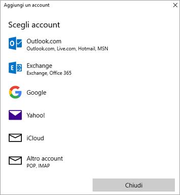 Mostra la finestra di dialogo Aggiungi un account