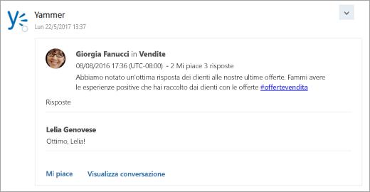 Schermata della scheda da un servizio connesso venga recapitata nella posta in arrivo di gruppo