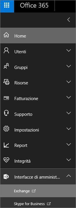 Screenshot che mostra l'interfaccia di amministrazione di Office 365 con l'opzione Interfacce di amministrazione espansa ed Exchange selezionato.