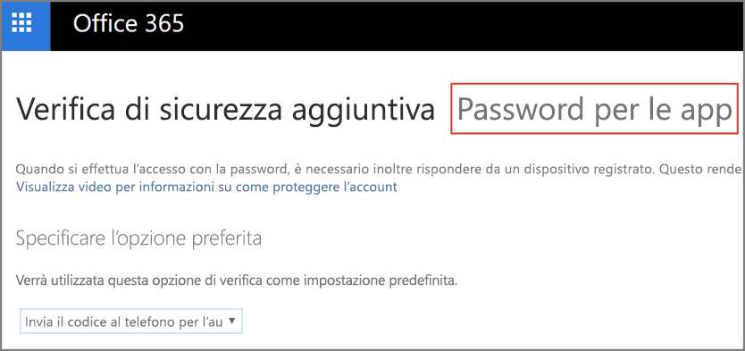 Scegliere le password dell'app