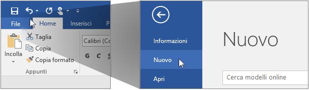 Interfaccia utente per la creazione di un nuovo documento di Word.