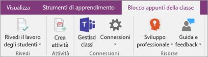 Scheda Blocco appunti della classe sulla barra multifunzione di OneNote con il pulsante Gestisci classi di Teams.