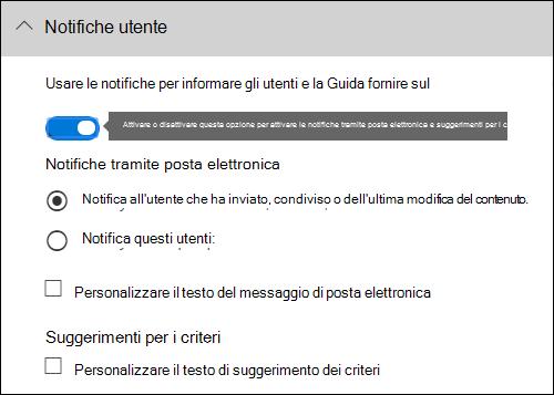 Sezione notifiche utente dell'editor regole