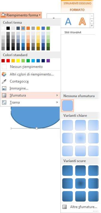 raccolta di sfumature aperta da riempimento forma nella scheda formato di strumenti disegno