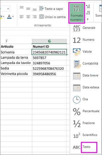 applicare il formato testo ai numeri