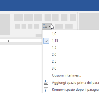 Opzioni per modificare l'interlinea in Word