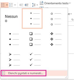 Nella finestra di dialogo Elenchi puntati fare clic su Elenchi puntati e numerati.
