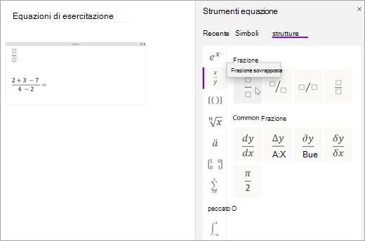 Selezionare strutture e quindi selezionare una categoria per esplorare le strutture matematiche disponibili.