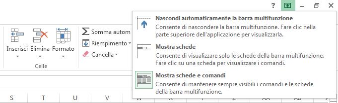 Quando si fa clic sull'icona Opzioni visualizzazione barra multifunzione viene visualizzato un menu.