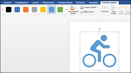 La raccolta stili con uno stile blu chiaro applicato a un elemento grafico di una bicicletta
