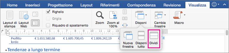 Fare clic su Dividi per dividere la finestra di Word in due visualizzazioni dello stesso documento.