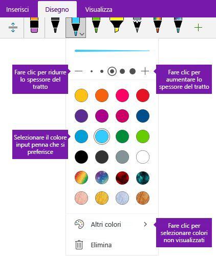 Penna opzioni spessore e il colore di tratto in OneNote per Windows 10
