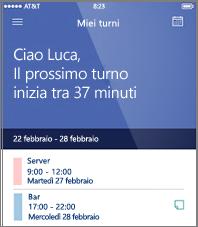 Esempio di pianificazione della giornata lavorativa nell'app StaffHub per dispositivi mobili