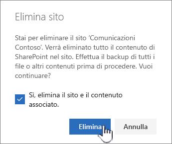 Se si è certi di voler eliminare il sito, fare clic su Elimina