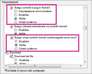 Consentire il caricamento e l'esecuzione dei controlli ActiveX in Internet Explorer