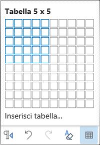 Griglia della tabella in Outlook sul Web.
