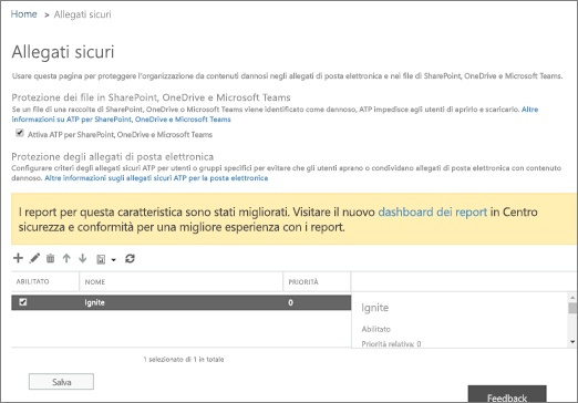 Attivare Advanced Threat Protection per SharePoint Online, OneDrive for Business e Microsoft Teams