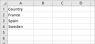 """La cella A1 contiene """"Paese"""" e le celle da A2 ad A4 contengono i nomi di paese: Francia, Spagna, Svezia"""