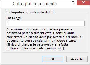 Finestra di dialogo Crittografa documento