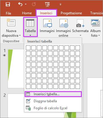 Mostra le opzioni Tabella nella scheda Inserisci sulla barra multifunzione di PowerPoint