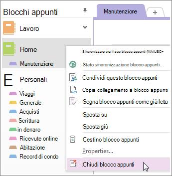 È possibile chiudere un blocco appunti se non è più necessario usarlo.