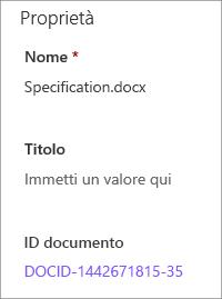 ID documento visualizzato nel riquadro dei dettagli