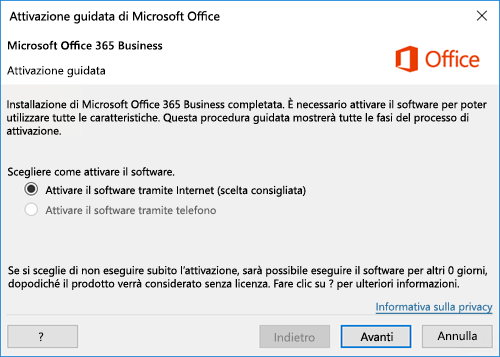 Attivazione guidata per Office 365 Business