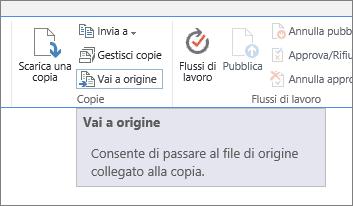 Passa all'origine dalla scheda file sulla barra multifunzione